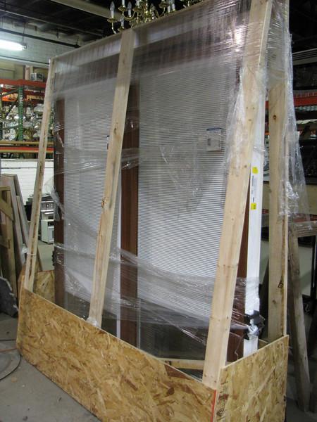 new sliding patio door, cherry interior finish: $600