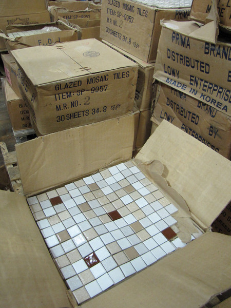 """12x12"""" mosaic tile, variety of colors:  $1.25/tile or $30 for box of 30"""