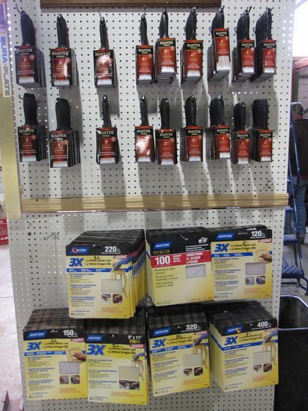 paint brushes: $1.25-$2 each<br /> sandpaper: $2 each