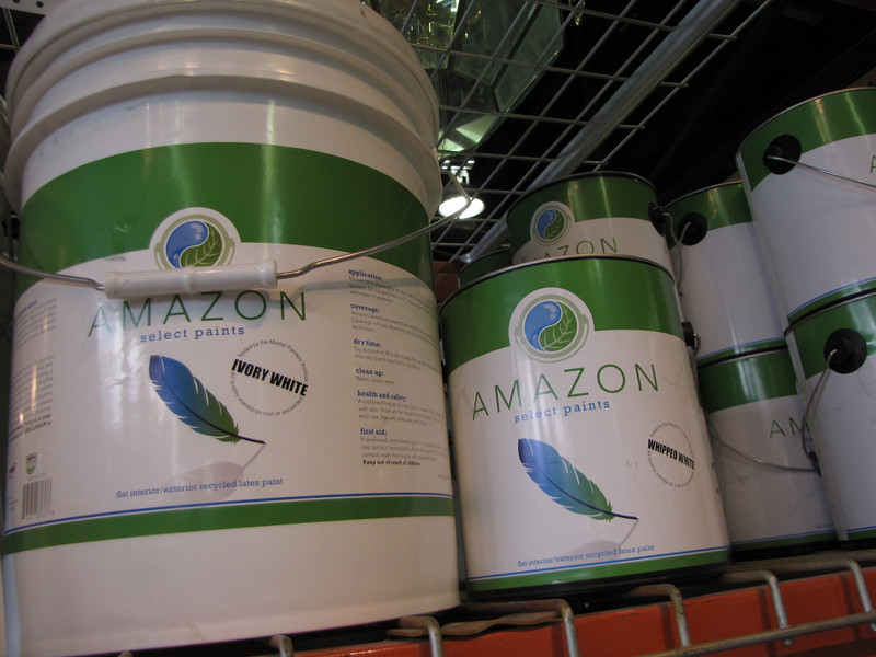 "Amazon Select recycled content paint: $16 per gallon, $55 for 5 gal bucket<br /> For more info and to see the 12 available colors, check our website: <a href=""http://www.habitatstl.org/newsevents/news/2010/07/23/restore-now-sells-recycled-paint/"">http://www.habitatstl.org/newsevents/news/2010/07/23/restore-now-sells-recycled-paint/</a>"