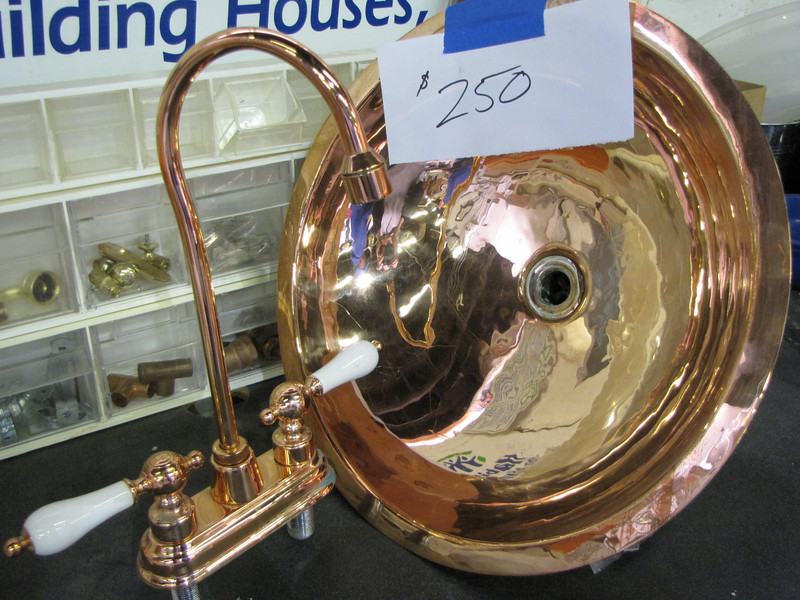 copper sink and faucet: $250