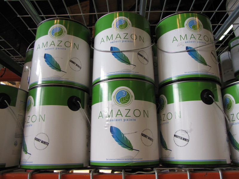"""Amazon Select recycled content paint: $16 per gallon, $55 for 5 gal bucket<br /> For more info and to see the 12 available colors, check our website: <a href=""""http://www.habitatstl.org/newsevents/news/2010/07/23/restore-now-sells-recycled-paint"""">http://www.habitatstl.org/newsevents/news/2010/07/23/restore-now-sells-recycled-paint</a>"""