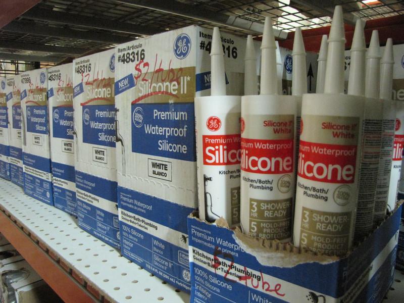 New silicone caulk, several colors: $2 per tube