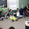 HOLLY PELCZYNSKI - BENNINGTON BANNER 5th graders at Molly Stark School in Bennington enjoy a story read by audiologist Mrs. Stephanie O'Flaherty on Monday during the Read Across America event and the birthday of Dr. Seuss.