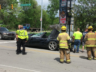 Penn Township police firefighters respond to Saturday crash at Route 8 and Dinnerbell Road.