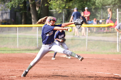 Kaila Purcell winds up to pitch in a hotly contested Saxonburg vs. Saxonburg 10-and-under softball game Tuesday evening at Laura J Doerr Memorial Park. 07/21/20 Seb Foltz/Butler Eagle