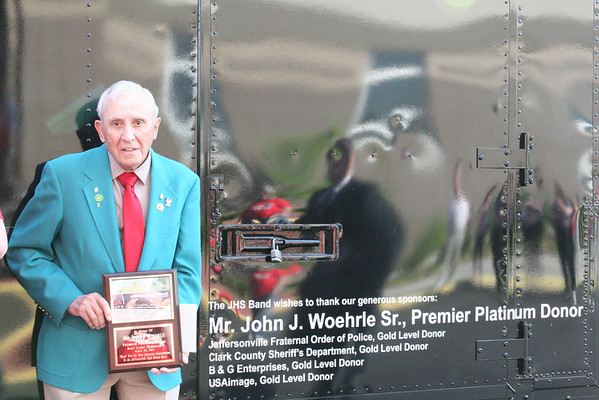 John Woehrle, Premium Platinum Donor, with the band's new trailer.<br /> <br /> Photographer's Name: Becky Herald<br /> Photographer's City and State: Jeffersonville, IN