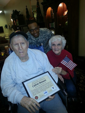 Autumn Woods resident Calvin B, his wife Wanda and ADFS Vincent G on Veterans Day<br /> <br /> Photographer's Name: Bobbie Jo  Adams<br /> Photographer's City and State: New Albany, IN