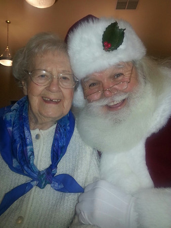 Autumn Woods resident Marjorie Y with Santa<br /> <br /> Photographer's Name: Bobbie Jo Adams<br /> Photographer's City and State: New Albany, IN
