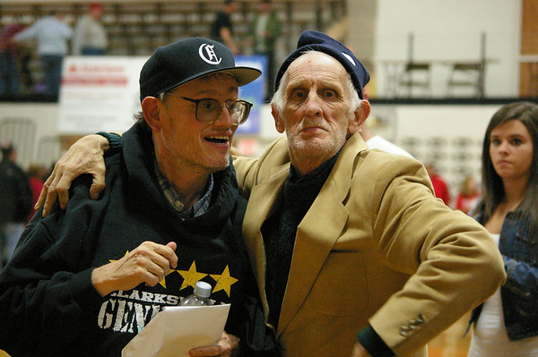 Pic of Legends Steve Mantheny and Cowboy talking after the Clarksville vs Jeffersonville basketball game on Dec.21st.<br /> <br /> Photographer's Name: Ron Dick<br /> Photographer's City and State: Clarksville, IN