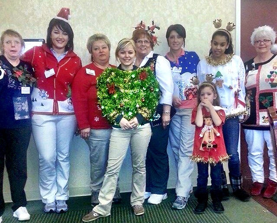 Ugly Sweater Contest with employees at Autumn Woods Health Campus to raise funds for Salvation Army<br /> <br /> Photographer's Name: Sandy Whelan<br /> Photographer's City and State: New Albany, IN