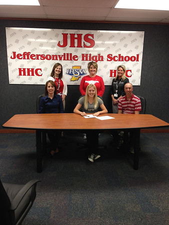 Jeffersonville High School Senior Janel Nelson signs to play softball at Oakland City University.  Front Row:  Suzanne Nelson, Janel Nelson, David Nelson.  Back Row:  JHS Principal Julie Straight, Coach Jodi Bradley, Athletic Director Lisa Stemler.<br /> <br /> Photographer's Name: David Nelson<br /> Photographer's City and State: Jeffersonville, IN