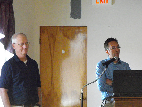 Ron Huestis (INDOT) and David Sikorsky (WVB East End Partners) addres the Charlestown Chamber during the regular Quarterly meeting on July 20.<br /> <br /> Photographer's Name: Ronald Repp<br /> Photographer's City and State: Charlestown, IN