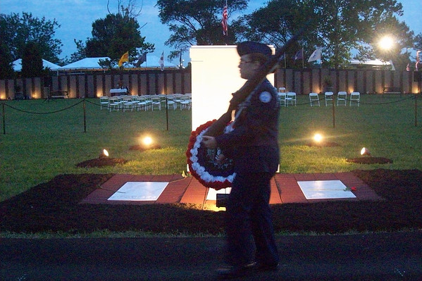 Jeff High AFJROTC keep guard for the Tomb of The Unknown Soldier (replica) overnight Friday night 8/16.<br /> <br /> Photographer's Name: Melinda Ames<br /> Photographer's City and State: Clarksville, IN