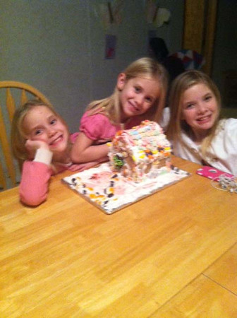 Rebekah, Regan and Rhiannon McGuire made their first gingerbread house.<br /> <br /> Submitted by Belva Likens.