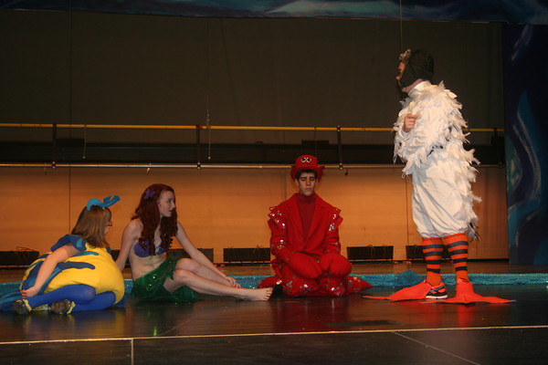 """Flounder, Sebastian and Scuttle find Ariel has grown legs. in the upcoming production of Tipton Community Theatre's production of""""The Little Mermaid Jr"""" <br /> <br /> Photographer's Name:  <br /> Photographers City and Country: ,"""