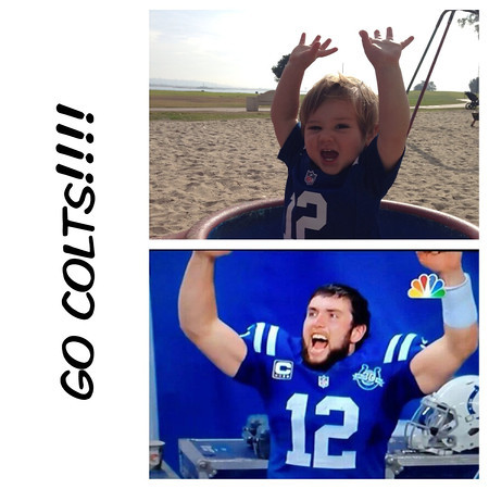Two Happy Colts this past Saturday...both enjoying their 2nd season in their jersey!<br /> <br /> Photographer's Name: Brad Kelly<br /> Photographer's City and State: San Diego, CA
