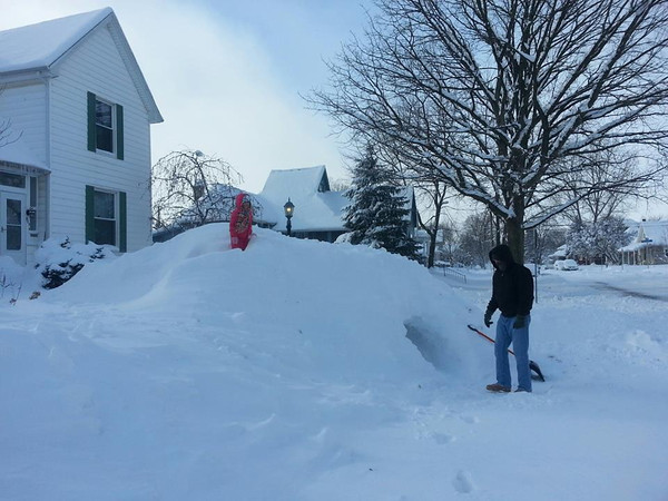 Aayla Wise and Mike Scircle making a snow fort :)<br /> <br /> Photographer's Name: Heather Reed<br /> Photographer's City and State: kokomo, IN