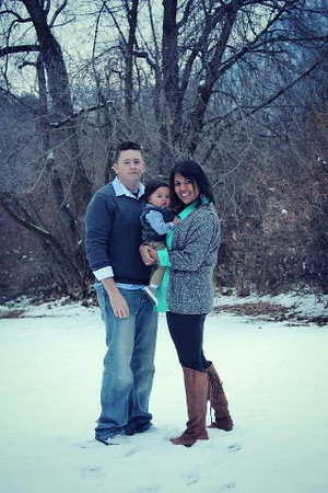 Enjoying the snow ~ My son, Kevin Saicheck, his wife, Becca and son, Cael ~ My son is stationed at Hill AFB, Utah<br /> <br /> Photographer's Name: jamie morris<br /> Photographer's City and State: kokomo, IN