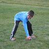 After our Thanksgiving meal, two dads and four sons played touch football in the warm weather. Here Ethan Frye is getting ready for a play.<br /> <br /> Photographer's Name: Roberta Hite<br /> Photographer's City and State: Kokomo, IN