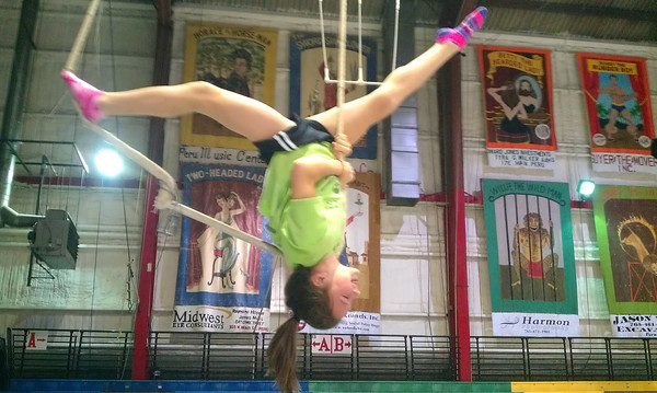 Circus in Peru Open for Winter Skills still time to sign up Courtlyn Crowe practicing trapeze<br /> <br /> Photographer's Name: Kim Cox<br /> Photographer's City and State: Peru, IN