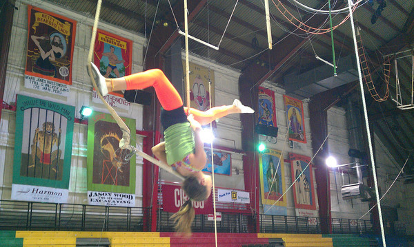 Sarah Montgomery practicing winter skills at Peru Circus, sign up now<br /> <br /> Photographer's Name: Kim Cox<br /> Photographer's City and State: Peru, IN