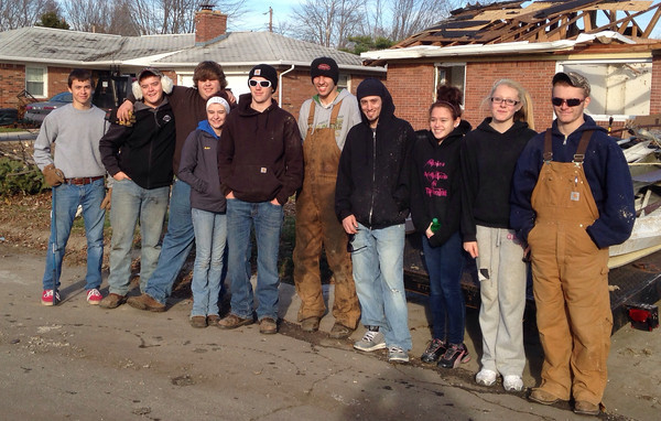 Group of Tipton High School Student helping with clean up Tuesday. Along with Monica Sanders <br /> <br /> Photographer's Name: Virginia Jarrett<br /> Photographer's City and State: Tipton, IN