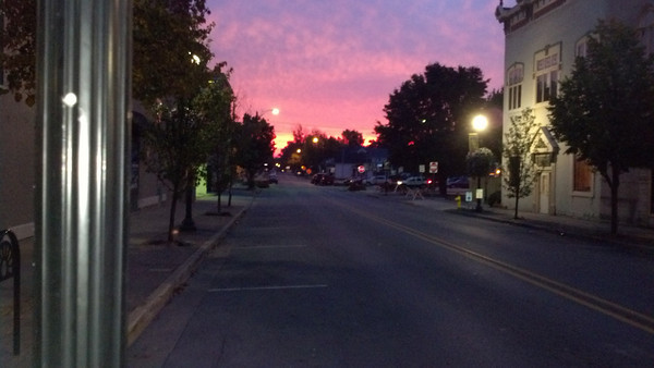 Downtown Kokomo sunrise, Walnut/Main Streets, looking east from Granson Jeweler<br /> <br /> Photographer's Name: Diana Bond<br /> Photographer's City and State: Kokomo, IN