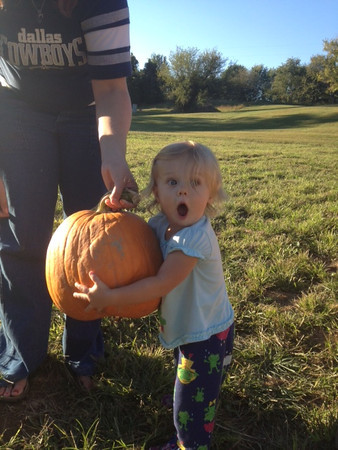 Miss Hazel Bandelier reacts to her Great Pumpkin!!!<br /> <br /> Photographer's Name: Marty Mulis<br /> Photographer's City and State: Kokomo, IN