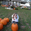 victoria putman with her pumpkin she picked out to carve<br /> <br /> Photographer's Name: darla kelley<br /> Photographer's City and State: kokomo, IN