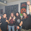 Local Band THREAT LEVEL's CD Release Party of HEATHENS at Shooters Bar in Logansport. L-R: THREAT LEVEL's Frank Rapacki (Vocals), Chad Smith (Drums), Jason Weaver (Bass) & Troy Welch (Guitar) w/ Misfit Toys Guitarist Brad Williams (center)<br /> <br /> Photographer's Name: darren Nakanishi<br /> Photographer's City and State: Kokomo, IN