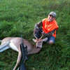 Keegan Day with his first deer, a 4-point buck. On 9/29/12 youth hunting weekend.<br /> <br /> Photographer's Name: Ashleigh Day<br /> Photographer's City and State: Kokomo, IN