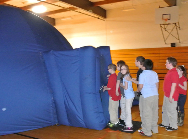 "A mobile Dome Theater was at Fairview Elementary School on Friday, April 18. All the classes were scheduled to visit the Dome Theater. The Dome is a Mobile Digital Theater featuring highly innovative, immersive, and educational programs. With the Dome Theater, Kramer Edu-tainment brings the excitement of the museum-quality shows, presenting a wide range of educational topics, in a state-of-the-art mobile digital theater system, directly to you! For further information about the mobile Dome Theater simply visit <a href=""http://www.kramerintl.com/interactive-events/mobile-digital-theatre"">http://www.kramerintl.com/interactive-events/mobile-digital-theatre</a><br /> <br /> Photographer's Name: Peggy S. Gingrich<br /> Photographer's City and State: Logansport, IN"