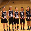 L- R, Anna Brown (Caston), Alivia Kruger (West Central), Emily Polen (South Newton), Catie Neary (Frontier), Ingrid Martinez (Caston), competed in the 2nd Annual Indiana Elite North vs South Allstar Basketball Challenge at Lebanon High School. The girls played for the north and won by 20 points.<br /> <br /> Photographer's Name: Patrick Brown<br /> Photographer's City and State: Rochester, IN