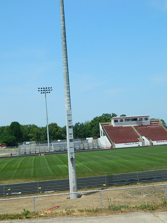 LHS football field new lights. Poles are made of cement. They replace the old wooden ones.Logan did have poor lighting.I have video game there & compare to local high schools; we needed them.<br /> <br /> Photographer's Name: Robert Zimmerman<br /> Photographer's City and State: Logansport, IN