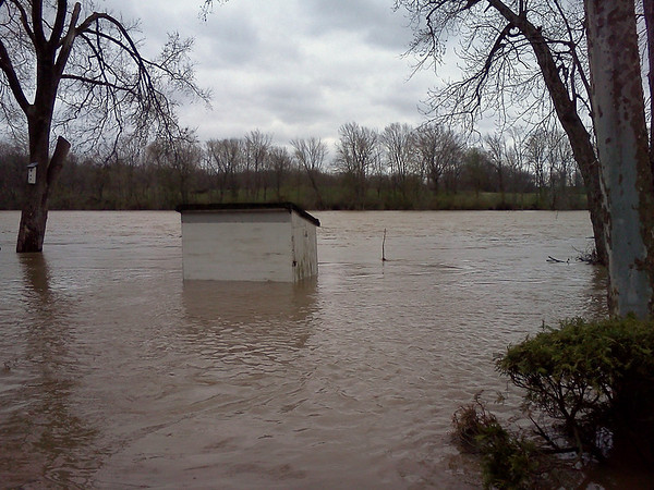 Wabash River flooding along Georgetown Road - storage shed<br /> <br /> Photographer's Name: Terry Ray<br /> Photographer's City and State: Logansport, IN