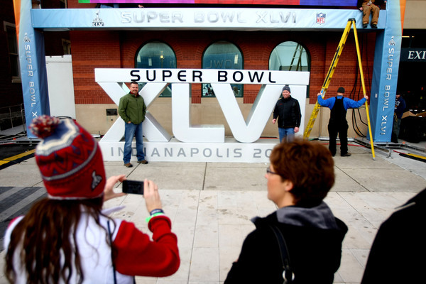 1-27-12<br /> Super Bowl XLVI - Super Bowl Village<br /> Photos in front of the 6 foot Superbowl sign is only a few places for photo ops.<br /> Kokomo Tribune   Tim Bath