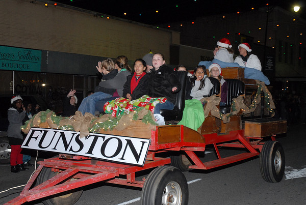 Funston Elementary School was among several entries from the Colquitt County Schools in the Moultrie Christmas Parade Thursday, Dec. 12, 2013.<br /> <br /> Photographer's Name: Kevin Hall<br /> Photographer's City and State: Moultrie, GA