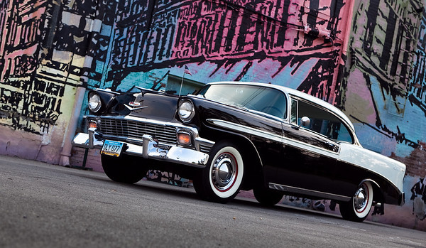 Jerry Carignan's '56 Chevy in front of a downtown Anderson mural.<br /> <br /> Photographer's Name: Jerry Carignan<br /> Photographer's City and State: Anderson, Ind.