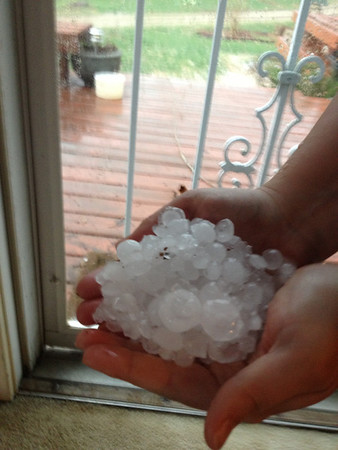 Quarter-size hail in Daleville, April 10, 2013.<br /> <br /> Photographer's Name: Amber Ryder<br /> Photographer's City and State: Daleville, Ind.