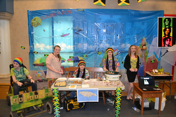 Ty, Isabella, Brandon, Colt, and Katelyn representing Jamaica at Frankton Elementary's annual World's Fair.<br /> <br /> Photographer's Name: Terry Ward<br /> Photographer's City and State: Frankton, IN