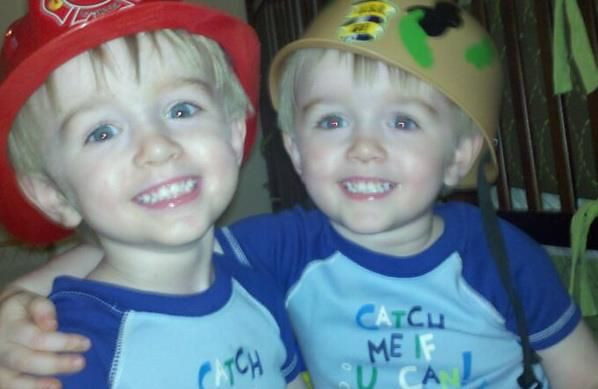 """Twin """"lookalikes"""" Parker and Alexander Roosa (daddy is Braun Roosa, GM of Mounds Mall of Anderson).<br /> <br /> Photographer's Name: Braun Roosa<br /> Photographer's City and State: Anderson, Ind."""