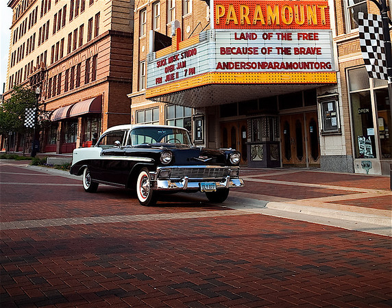 Jerry Carignan's '56 Chevy in front of the Paramount Theatre.<br /> <br /> Photographer's Name: Jerry Carignan<br /> Photographer's City and State: Anderson, Ind.