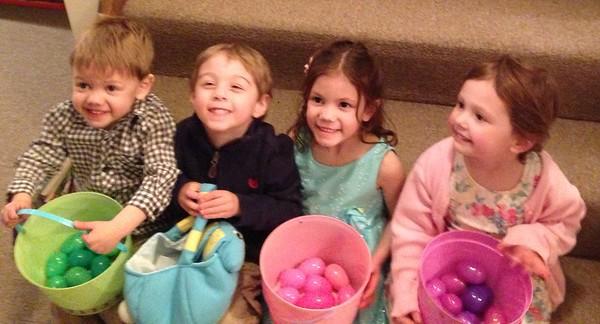 Grandchildren, Jackson, Brayden, Gigi, and Mady, after their Easter egg hunt.<br /> <br /> Photographer's Name: Karen Ambler<br /> Photographer's City and State: Anderson, Ind.