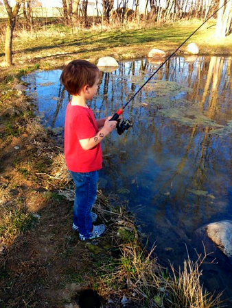 Eli Coxe fishing at my farm in Richland Township.<br /> <br /> Photographer's Name: J.R. Rosencrans<br /> Photographer's City and State: Alexandria, Ind.