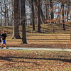 Two joggers were enjoying an evening run past the Great Mound at Mounds Park.<br /> <br /> Photographer's Name: Jerry Byard<br /> Photographer's City and State: Anderson, Ind.