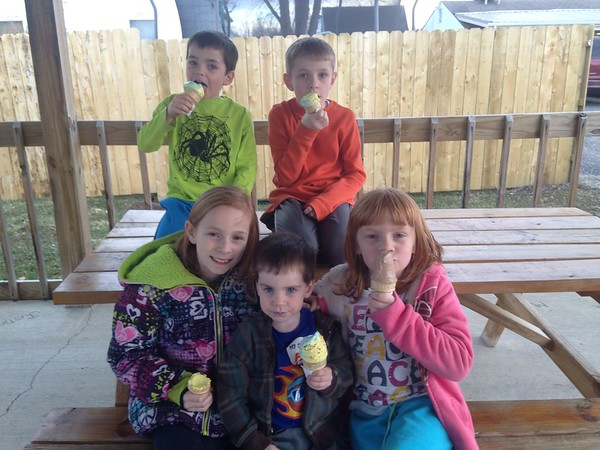 Carter Sovern, Ryan Long, Natalie Long, Bennett Sovern and Kendall Long enjoy ice cream cones at Dortees Drive Inn in Alexandria.<br /> <br /> Photographer's Name: Carrie Long<br /> Photographer's City and State: Alexandria, Ind.