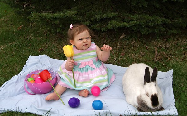 Charlotte Adams doesn't know what to think about a real bunny rabbit!  She is the daughter of Kevin Adams and Dakota Clark of Frankton.<br /> <br /> Photographer's Name: Diana Adams<br /> Photographer's City and State: Frankton, Ind.
