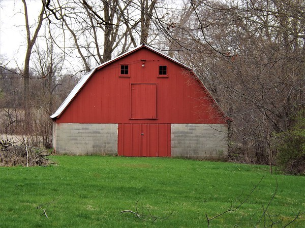 """""""Little Red Barn, On a Farm In Indiana.""""<br /> <br /> Photographer's Name: J.R. Rosencrans<br /> Photographer's City and State: Alexandria, Ind."""