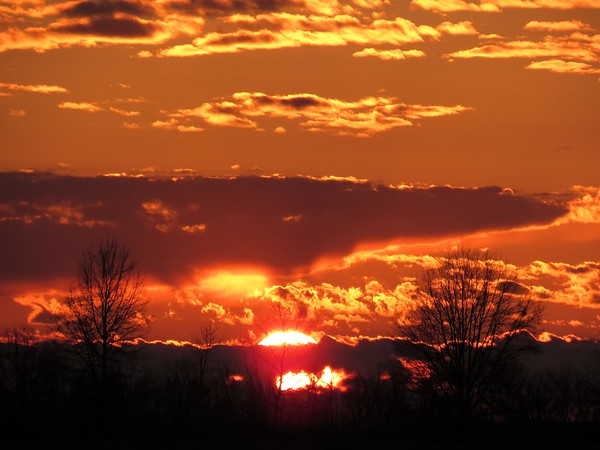 A late March sunset, seen in Madison County.<br /> <br /> Photographer's Name: Harry Van Noy<br /> Photographer's City and State: Lafayette Township, Ind.